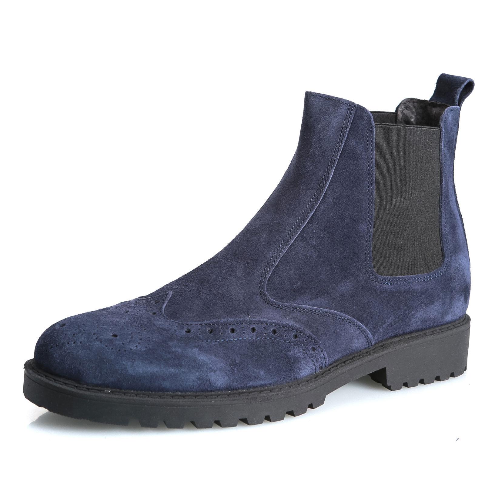 MFORSHOP scarpe made uomo stivaletto vera pelle scamosciato made scarpe Italy chelsea 0371 73939e