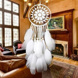 Weiss-Traumfaenger-Federn-Wandbehang-Dekoration-Dreamcatcher-Ornament-Geschenk