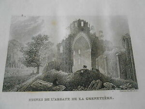 Gravure-sur-acier-1838-La-Vendee-Ruines-de-l-039-abbaye-de-la-Grenetiere