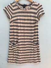 Marc By Marc Jacobs Dress XS Striped Gray Pink Shift 0 2 Mini