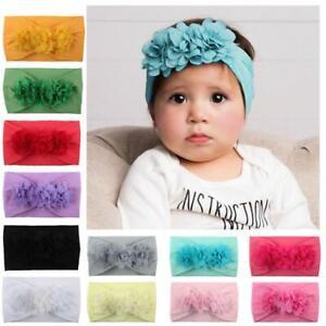 Baby-Maedchen-Haarband-Stirnband-Blume-weiche-elastische-Kopfbedeckung-fuer-Kleink
