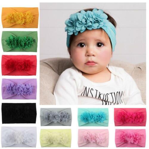 Baby Mädchen Haarband Stirnband Blume weiche elastische Kopfbedeckung