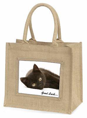 schwarze Katze' Good Luck 'Stimmung Große natürliche jute-einkaufstasche CH,