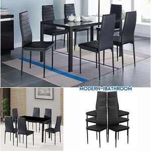 gloss black glass dining room table set and with 6 faux leather rh ebay co uk