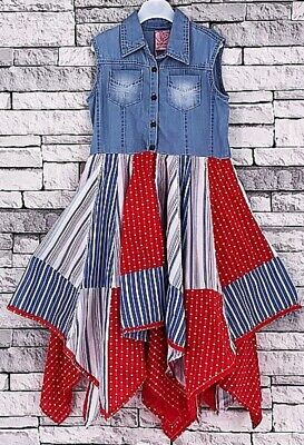 GIRLS RED DENIM GYPSY HANDKERCHIEF DRESS 3-11 YEARS PARTY HOLIDAY