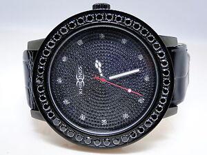 Da-uomo-Khronos-Joe-rodeo-Nero-Diamanti-Finti-acciaio-inox-1-fila-lunetta