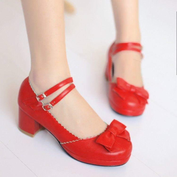 Women Lolita Princess Round Toe Bowknot Ankle strap Chunky Heel Mary Janes Shoes