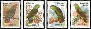Timbres-Oiseaux-Perroquets-Bresil-1443-6-lot-16651