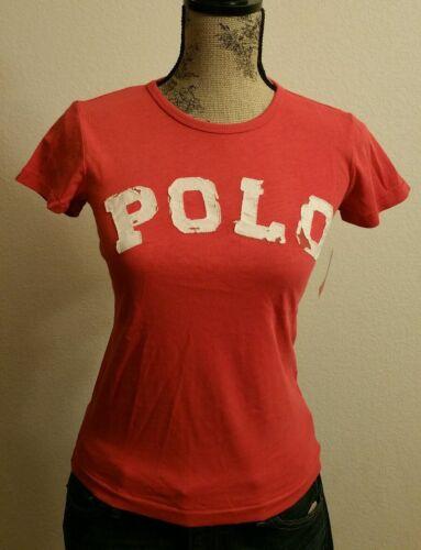 Polo Ralph Lauren Women/'s Graphic Distressed Polo Logo Crew Neck T-Shirt Size L