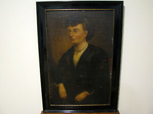 Antique-19c-OIL-ON-BOARD-PORTRAIT-PAINTING-WOMAN-FOR-RESTORATION-20-034-X-31-034
