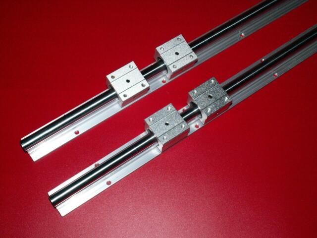 4Pcs SBR12UU Bearing Block CNC Parts Linear Slide Rail Shaft MAGT 2Pcs SBR12 200mm High Precision Linear Slide Guide Shaft Rail