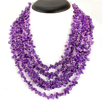 Untreated 547.50 Cts Natural 3 Strand Purple Amethyst Tear Drop Beads Necklace