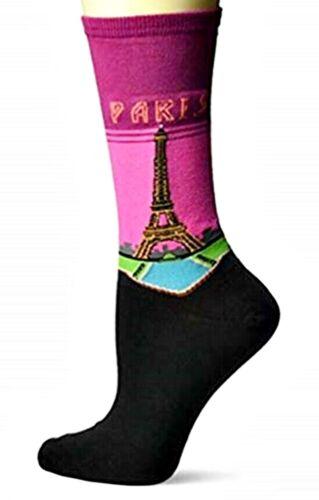 "Women/'s /""Paris/""  Design w// Eiffel Tower Hot Sox  One Size 9-11. Crew Socks"
