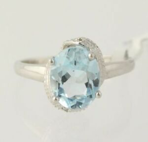 NEW-Blue-Topaz-Ring-925-Sterling-Silver-Diamond-Accents-Sterling-Silver-Band