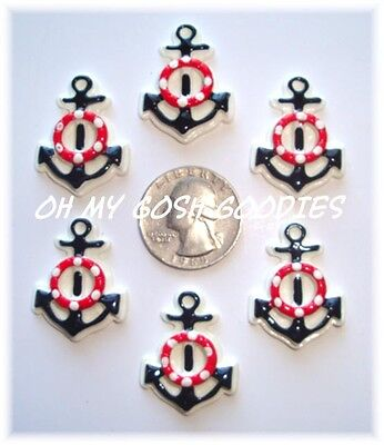 6 PC NAUTICAL ANCHOR FLATBACK HAIRBOW CENTERS RESINS FLAT BACK