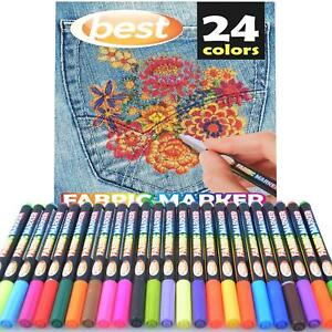 Details about Best Permanent Fabric Markers (24 PENS) Non-Toxic - Set of 24  Individual Colors