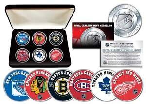 NHL-ORIGINAL-SIX-TEAMS-Royal-Canadian-Mint-Medallions-6-Coin-Set-w-Display-Box
