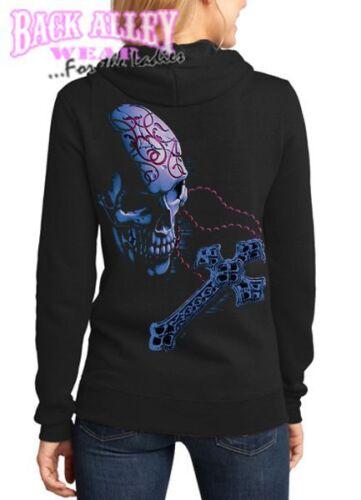 Ladies ROSARY SKULL w// CROSS Hooded Sweat Shirt Hoodie Sugar Dia Muertes Womens