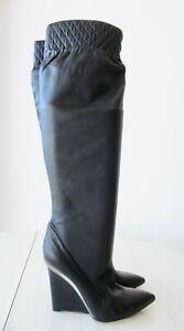 CASADEI Bottes Boots Femme Compensées Talons Compensés Cuir Noir 40
