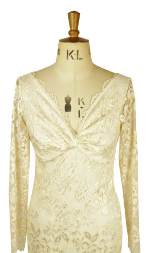 Baylis /& Knight Cream Nude LACE Long Sleeve  TWIST Wiggle Wedding party dress
