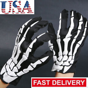 Biker-Skeleton-Bone-Gloves-Racing-Cycling-Motorcycle-Mechanics-Goth-Full-Fing-SU