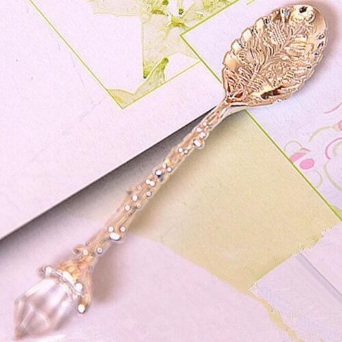 Vintage Carved Flower Crystal Coffee Teaspoon Ice Cream Tea Sugar Cake Spoon NEW