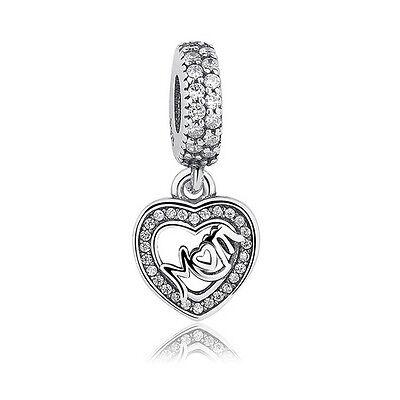 Mom Silver Heart Dangle Charms 100% 925 Sterling Silver pandora