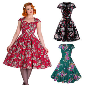 Womens-50s-Vintage-Retro-Rockabilly-Cap-Sleeve-Swing-Dress-Party-Pinup-Evening