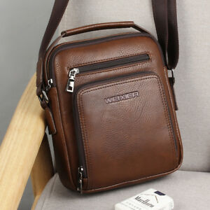 4401dae65e00 WEIXIER Large Capacity PU Leather Men s Zippered Crossbody Shoulder ...
