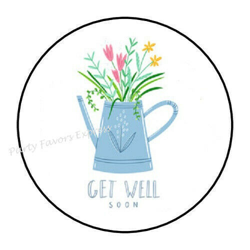 "48 GET WELL SOON FLOWERS ENVELOPE SEALS LABELS STICKERS 1.2/"" ROUND"
