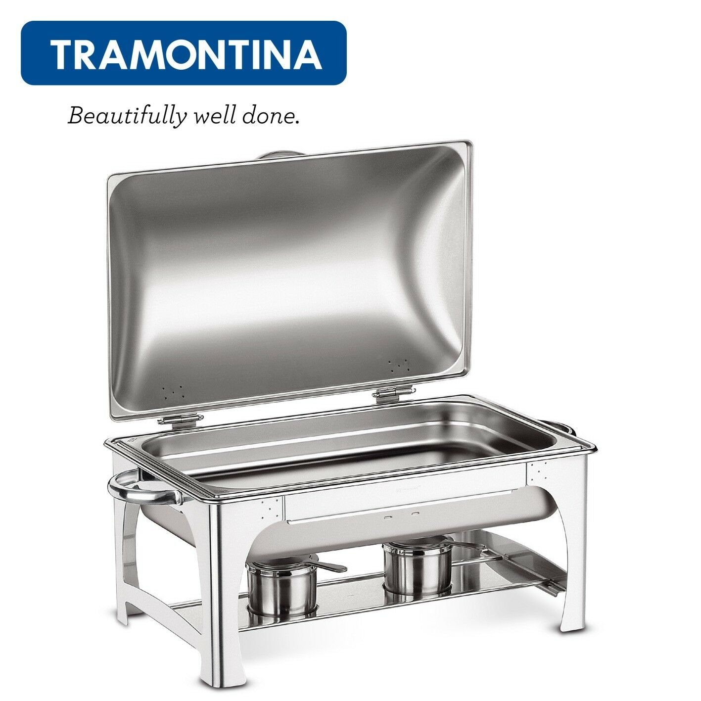 TRAMONTINA Chafing Dish with Hinged Lid Party Cater Food Warmer Single Pan 9,06L