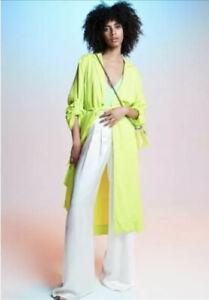AFRM Women's Coat Lime Green Hendrix Duster Lightweight Long Jacket Size XS NWT