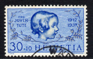 Switzerland-30-cent-on-10-cent-Stamp-c1937-Used-1014