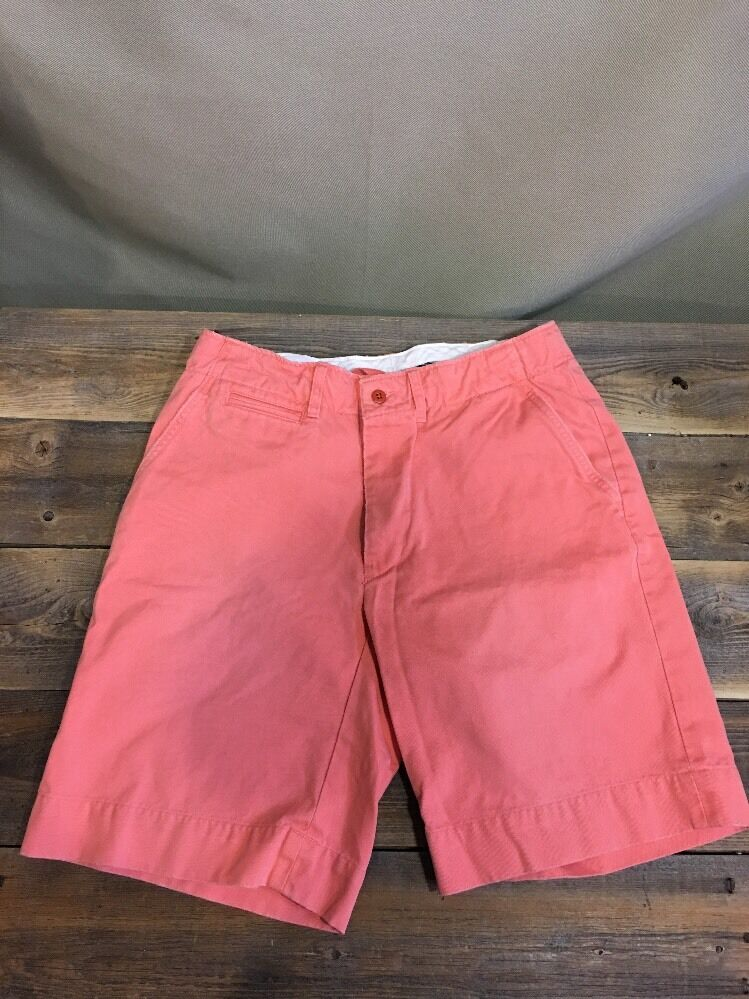 POLO Ralph LAUREN Shorts 32 X 10 Coral Flat FRONT DRAWSTRING Men Distressed Wash