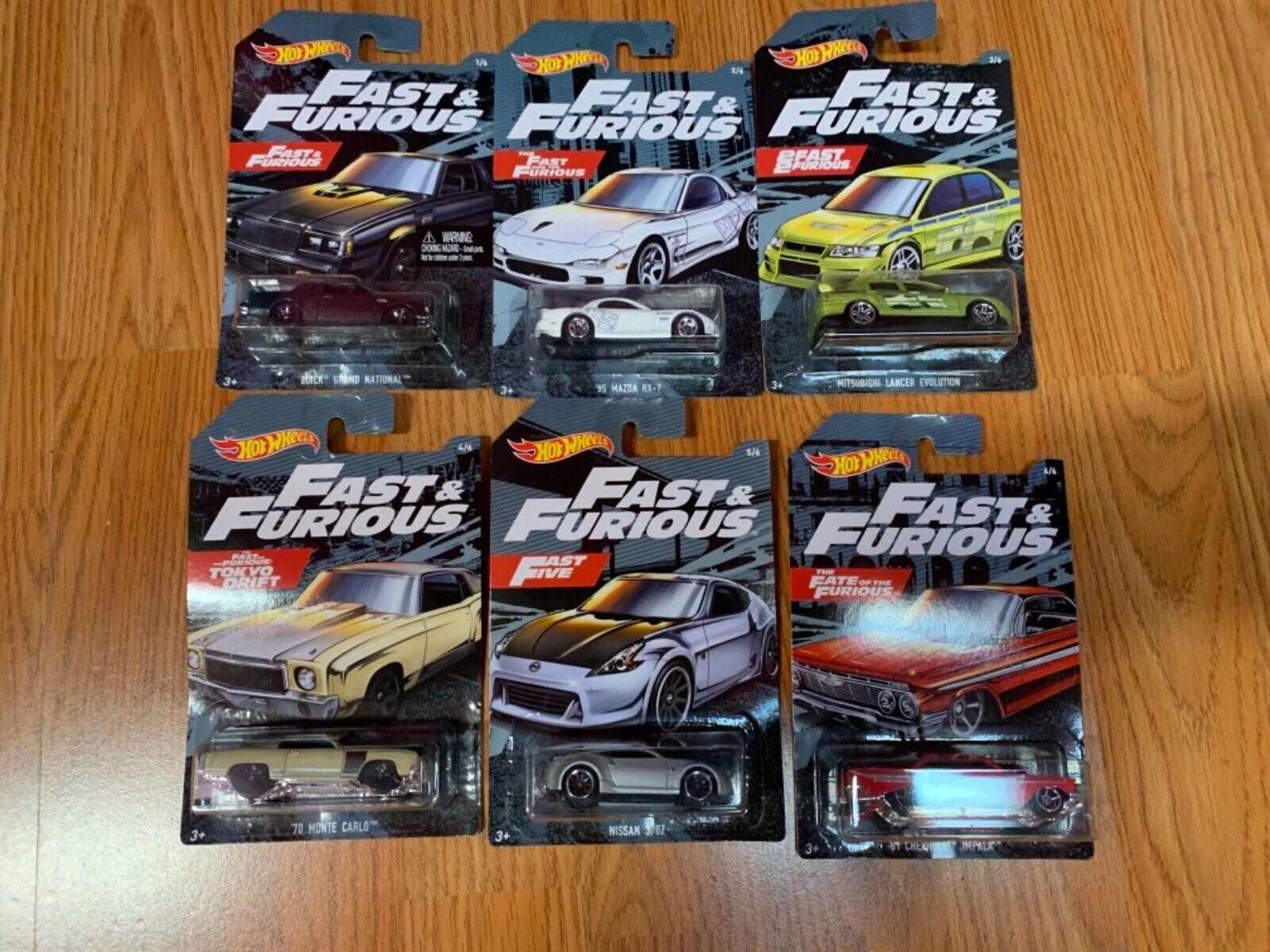heta hjul Fast and Furious 2019 komplett uppsättning av 6 Walmkonst Exklusiv