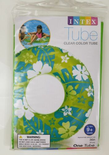 """INTEX Clear Color Tube Inflatable Swimming Beach Pool Float 36/"""" Hawaiian Floral"""