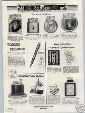 1936 PAPER AD Ronson Hound Houn Dog Table Lighter Penciliter Evans Case Sets