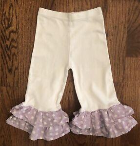 Baby-Buds-Mud-Pie-Girls-White-Pants-Lavender-Polka-Dot-Ruffles-Size-12-18-Months