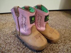 John Deere Poppers Pink Boot 3 Euc Baby Infant Toddler