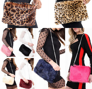Ladies-Designer-Soft-Fluffy-Feather-Faux-Fur-Clutch-Bag-Purse-Chain-Runway-NEW