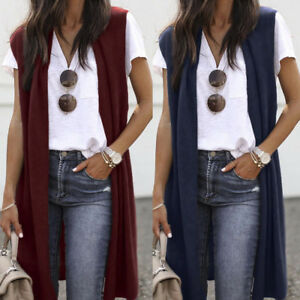 Women-039-s-Sleeveless-Open-Front-Pocket-Ladies-Lightweight-Kimono-Cardigan-Coats