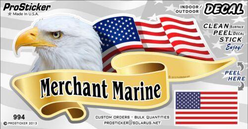 "3/"" x 6/"" American Flag Merchant Marine Decal Sticker Auto One ProSticker 994"