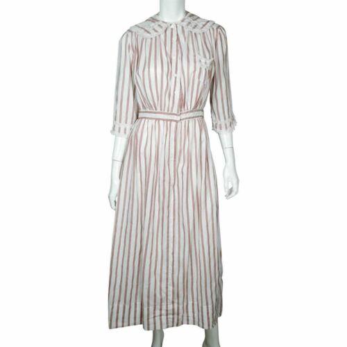 1910s Antique Striped Cotton Day Dress circa 1914