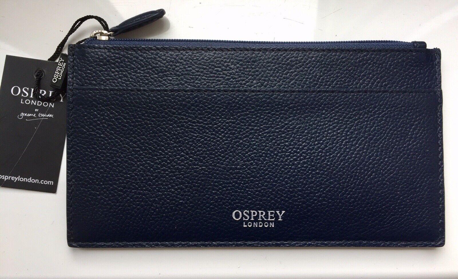 Osprey London - Navy Blue Leather 'Kellie' Card Holder Purse/Pouch, BNWT RRP