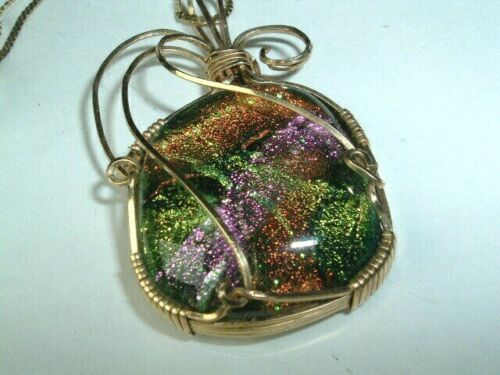 Vintage hand blown glass snake pendant necklace