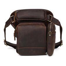 Men's Leather Shoulder Backpack Waist Bag Drop Leg Thigh Pouch Bike Motorcycle