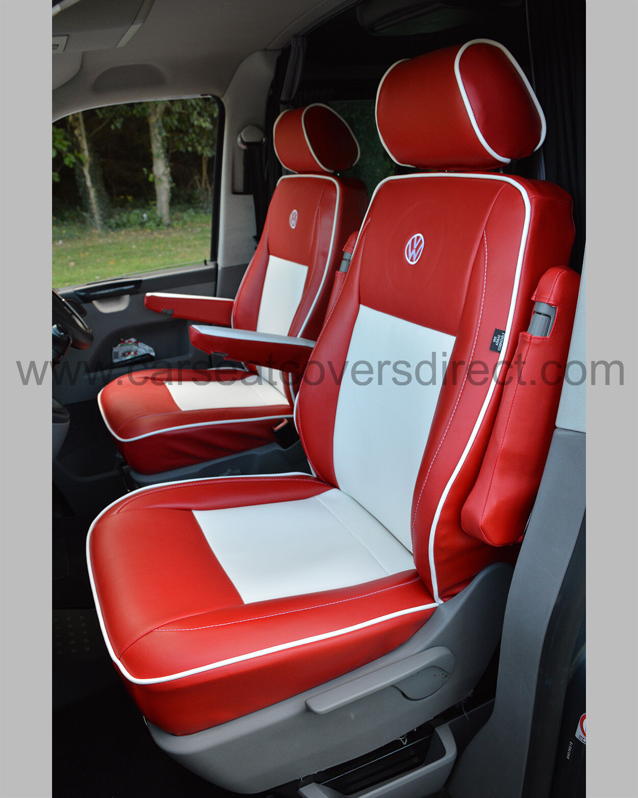 VW Transporter T5 Waterproof Tailored Van Captain Seat Covers Red