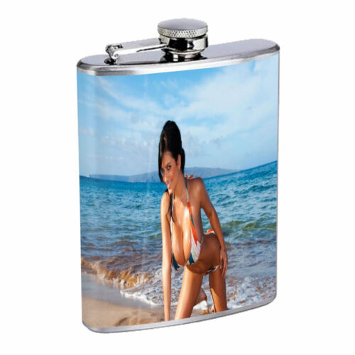 Beach Pin Up Girls D4 Flask 8oz Stainless Steel Hip Drinking Whiskey Model Babe