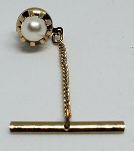 Men\u2019s Vintage gold tone tie tack pin with chain
