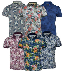 Mens Hawaiian Fashion Floral Polo Shirt Short Sleeve Casual Cotton ... 2778758e2